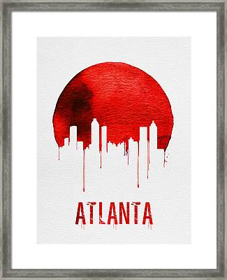 Atlanta Skyline Red Framed Print