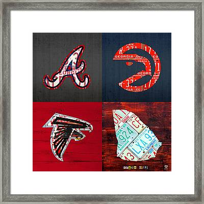 Atlanta Sports Fan Recycled Vintage Georgia License Plate Art Braves Hawks Falcons Plus State Map Framed Print