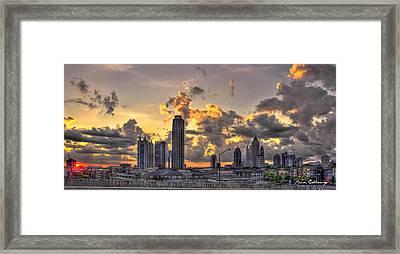 Atlanta Sunrise On Atlantic Station Commons And Midtown Atlanta Framed Print by Reid Callaway