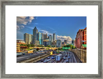 Framed Print featuring the photograph Atlanta The Capital Of The South Cityscapes Sunset Reflections Art by Reid Callaway
