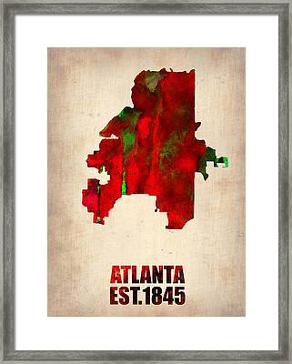 Atlanta Watercolor Map Framed Print