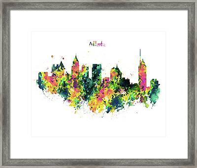 Atlanta Watercolor Skyline  Framed Print
