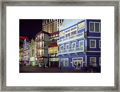 Atlantic City Boardwalk At Night Framed Print by Sally Weigand