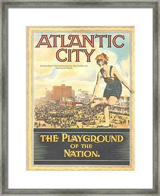 Atlantic City The Playground Of The Nation Framed Print by NewJerseyAlmanac