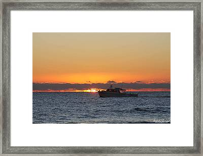 Atlantic Ocean Fishing At Sunrise Framed Print