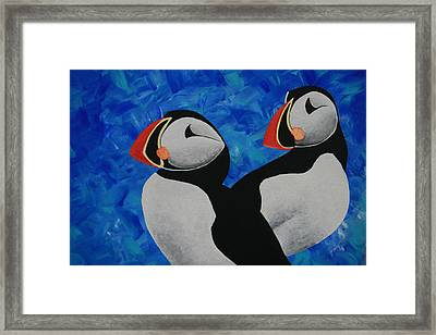 Atlantic Puffins Framed Print by Nick Flavin