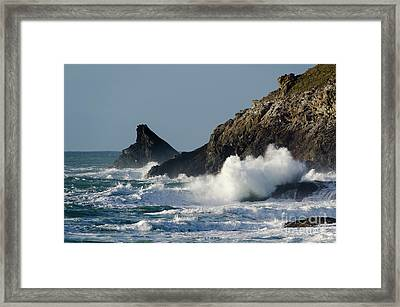 Atlantic Splash Framed Print by Steev Stamford