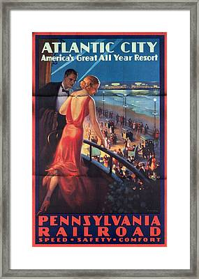 Atlantinc City - America's Great All Year Resort - Vintage Poster Folded Framed Print
