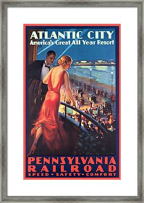 Atlantinc City - America's Great All Year Resort - Vintage Poster Restored Framed Print