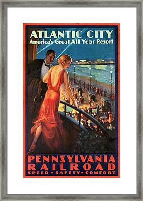 Atlantinc City - America's Great All Year Resort - Vintage Poster Vintagelized Framed Print