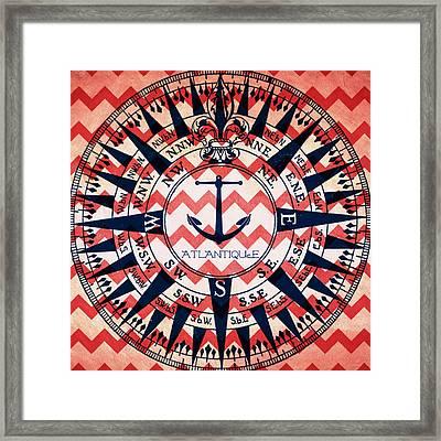 Atlantique Compass Framed Print by Brandi Fitzgerald