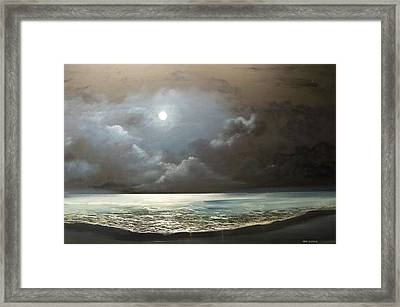 Framed Print featuring the painting Atlantis Moon by Ken Ahlering