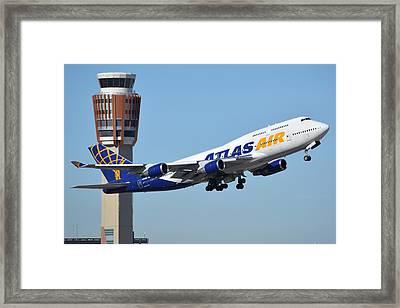 Atlas Air Boeing 747-446 N465mc Phoenix Sky Harbor January 12 2015 Framed Print by Brian Lockett