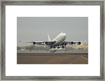 Atlas Air Boeing 747-45e-sf N473mc Phoenix Sky Harbor December 24 2015 Framed Print by Brian Lockett