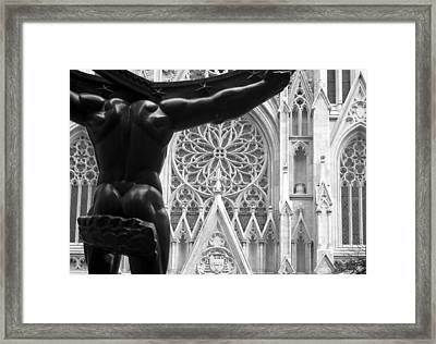 Atlas And St. Patrick's Cathedral Framed Print