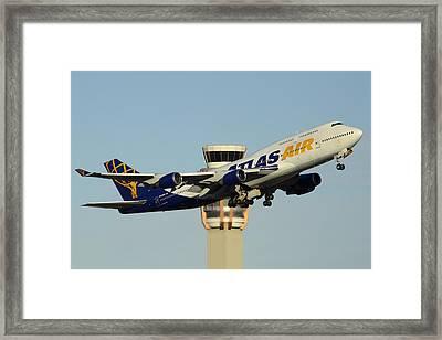 Atlas Boeing 747-446 N465mc Phoenix Sky Harbor January 3 2015 Framed Print by Brian Lockett