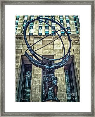 Atlas - Bronze Statue Framed Print