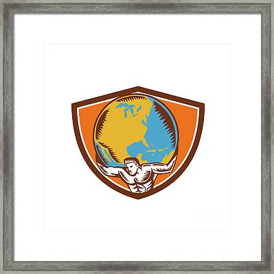 Atlas Carrying Globe Crest Woodcut Framed Print by Aloysius Patrimonio