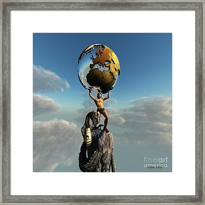 Atlas Greek God Framed Print by Corey Ford