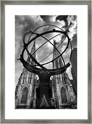 Atlas Holding The Heavens Framed Print by Jessica Jenney