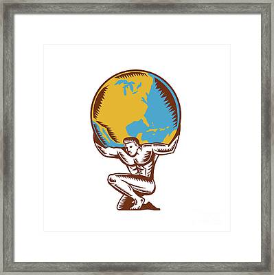 Atlas Lifting Globe Kneeling Woodcut Framed Print by Aloysius Patrimonio