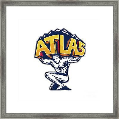 Atlas Lifting Mountain Kneeling Woodcut Framed Print by Aloysius Patrimonio