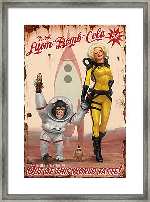 Framed Print featuring the digital art Atom Bomb Cola - Out Of This World Taste by Steve Goad