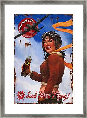Atom Bomb Cola Send Thirst Flying Framed Print by Steve Goad