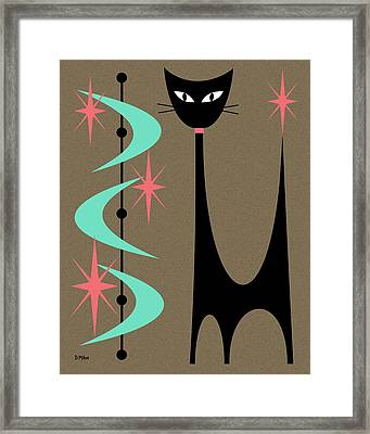 Framed Print featuring the digital art Atomic Cat Aqua And Pink by Donna Mibus