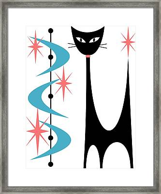Framed Print featuring the digital art Atomic Cat Turquoise And Pink  by Donna Mibus