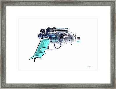 Atomic Ray Gun Digital Pop Negative Framed Print