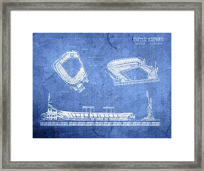 Att Park San Francisco Giants Baseball Stadium Field Blueprints Framed Print