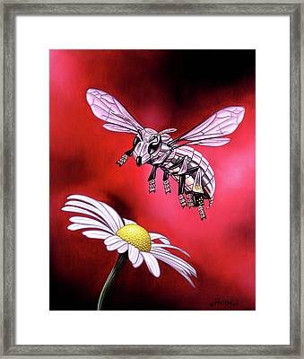 Attack Of The Silver Bee Framed Print