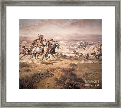 Attack On The Wagon Train Framed Print by Charles Marion Russell