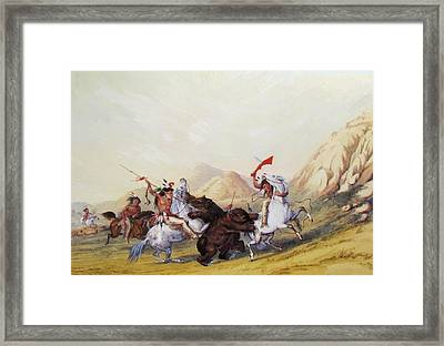 Attacking The Grizzly Bear 1844 Framed Print