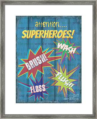 Attention Superheroes Framed Print