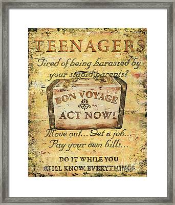 Attention Teenagers Framed Print by Debbie DeWitt