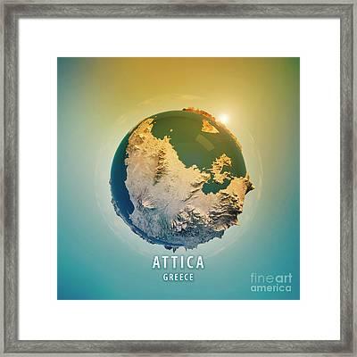 Attica Greece 3d Little Planet 360-degree Sphere Panorama Framed Print