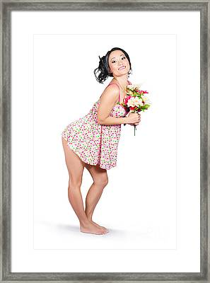 Attractive Asian Woman Holding A Flower Bunch Framed Print