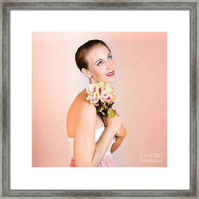 Attractive Brunette Dreams Of Romance Framed Print by Jorgo Photography - Wall Art Gallery