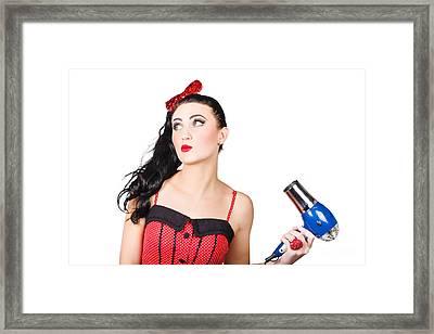 Attractive Brunette Girl Dressed In Red Framed Print