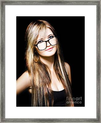 Attractive Business Woman On Black Background Framed Print by Jorgo Photography - Wall Art Gallery