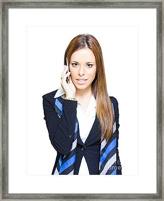 Attractive Confident Business Woman On Smart Mobile Phone Framed Print by Jorgo Photography - Wall Art Gallery