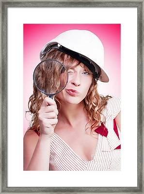 Attractive Female Building Inspector With Hardhat Framed Print