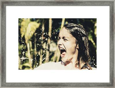 Attractive Woman At Play In Tropical Water Fall Framed Print by Jorgo Photography - Wall Art Gallery