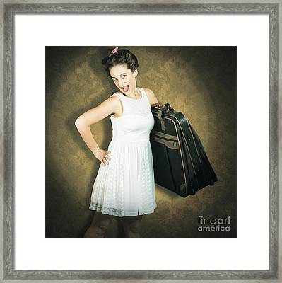 Attractive Young 1950s Woman Ready For Travel Tour Framed Print by Jorgo Photography - Wall Art Gallery