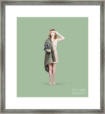 Attractive Young Australian Army Pinup Woman Framed Print by Jorgo Photography - Wall Art Gallery
