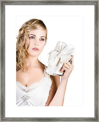 Attractive Young Bride Framed Print by Jorgo Photography - Wall Art Gallery