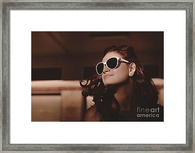 Attractive Young Pin Up Woman With Old Hairstyle Framed Print by Jorgo Photography - Wall Art Gallery