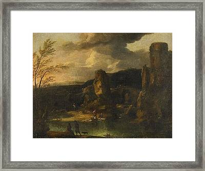 attributed to Mountain landscape with figures by a lake Framed Print by MotionAge Designs